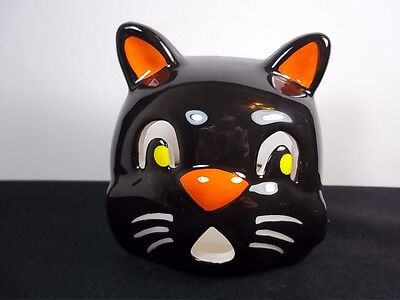 "Black Cat ceramic Halloween tea light or votive holder 3.25"" tall"