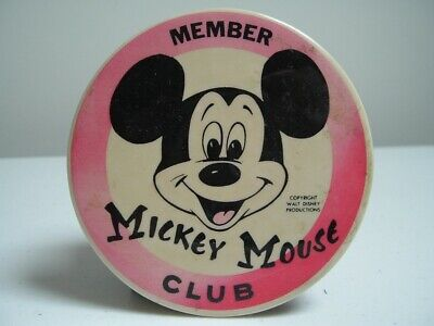 """VINTAGE Mickey Mouse Club Member Pin Button - 3 1/2"""" Diameter"""