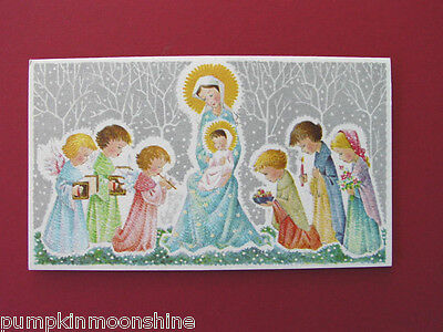 Unused Red Farm Studio Xmas Greeting Card of Mother & Child & Adoring Angels ()