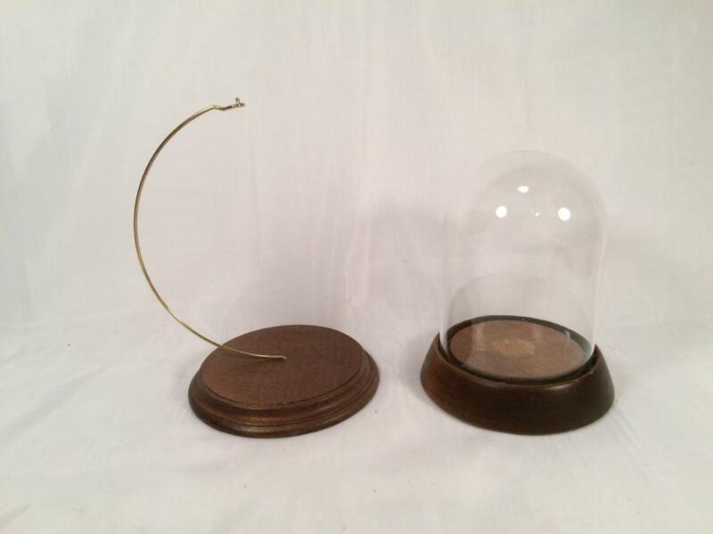 LOT OF 2  WOOD BASE ORNAMENT DISPLAYS ONE WITH HANGER & ONE WITH GLASS DOME