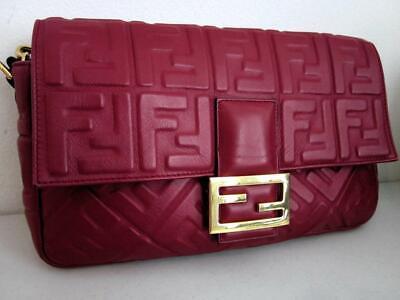 Fendi LARGE Baguette RED Embossed Lamb Leather Satchel/Crossbody Rt. $3,290