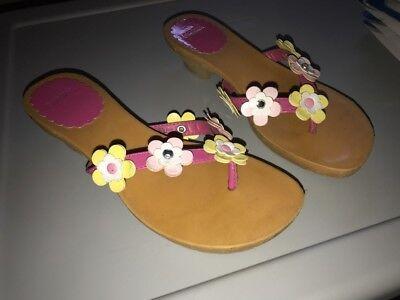 Gymboree girls pink floral flower kitten heal sandals shoes size 2](Flower Girls Shoes)