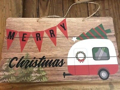- CHRISTMAS SIGN Happy Holidays Rustic WOOD Sign Wall Plaque Camper Holiday Decor