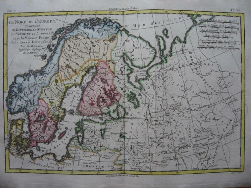 BONNE - Map  SCANDINAVIA & N. RUSSIA Denmark Norway Sweden Finland Baltic c1780