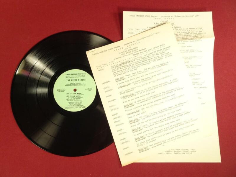 VINTAGE 1968 THE GREEN BERETS JOHN WAYNE MOVIE PROMO LP RECORD RADIO SPOT AD