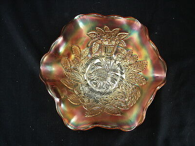 MILLERSBURG PEACOCK AND URN MARIGOLD 3 IN 1 RUFFLED, FOOTED BOWL CARNIVAL GLASS