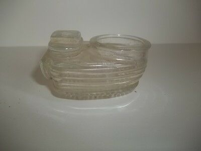 Vintage RIBBED FOOTED GLASS BIRD CAGE WATERER FEEDER ESTATE FIND