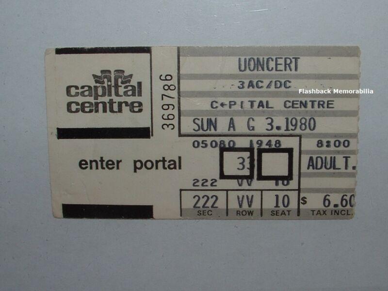 AC/DC 1980 Concert Ticket Stub CAPITAL CENTRE Landover MD D.C. Very Rare AC-DC