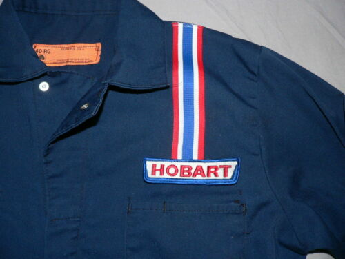 VTG 70s 80s HOBART WELDING JUMPSUIT WORK COVERALLS RED CAP Sz 40 M/L USA MADE