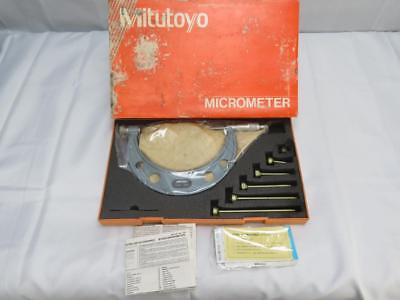 Mitutoyo 104-137 0 - 6 X .001 Interchangeable Anvil Outside Micrometer Set