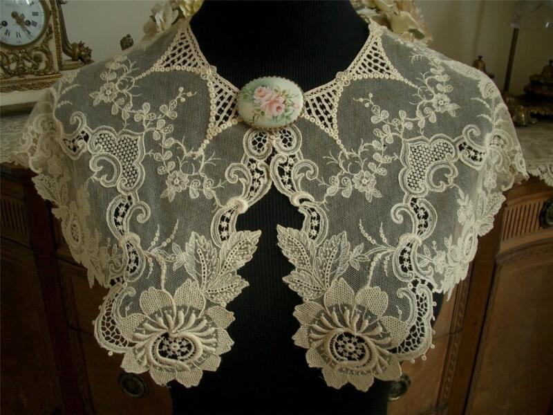 DAINTY ANTIQUE VTG EDWARDIAN SCHIFFLI GUIPURE EMBROIDERY NET LACE COLLAR