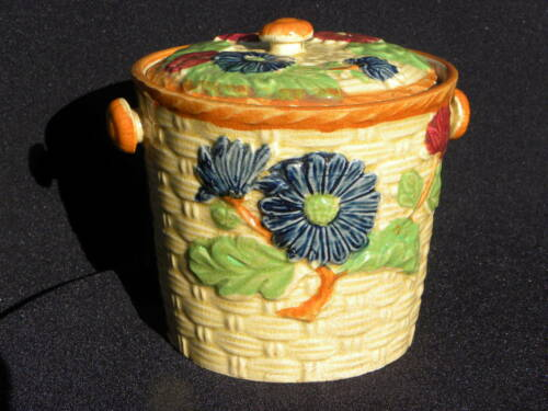 Vintage Floral Ceramic Tea Biscuit Jar, Made in Japan