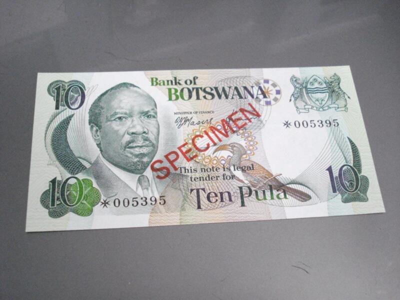 Botswana Specimen Note 10 Pula Uncirculated FREE Shipping!