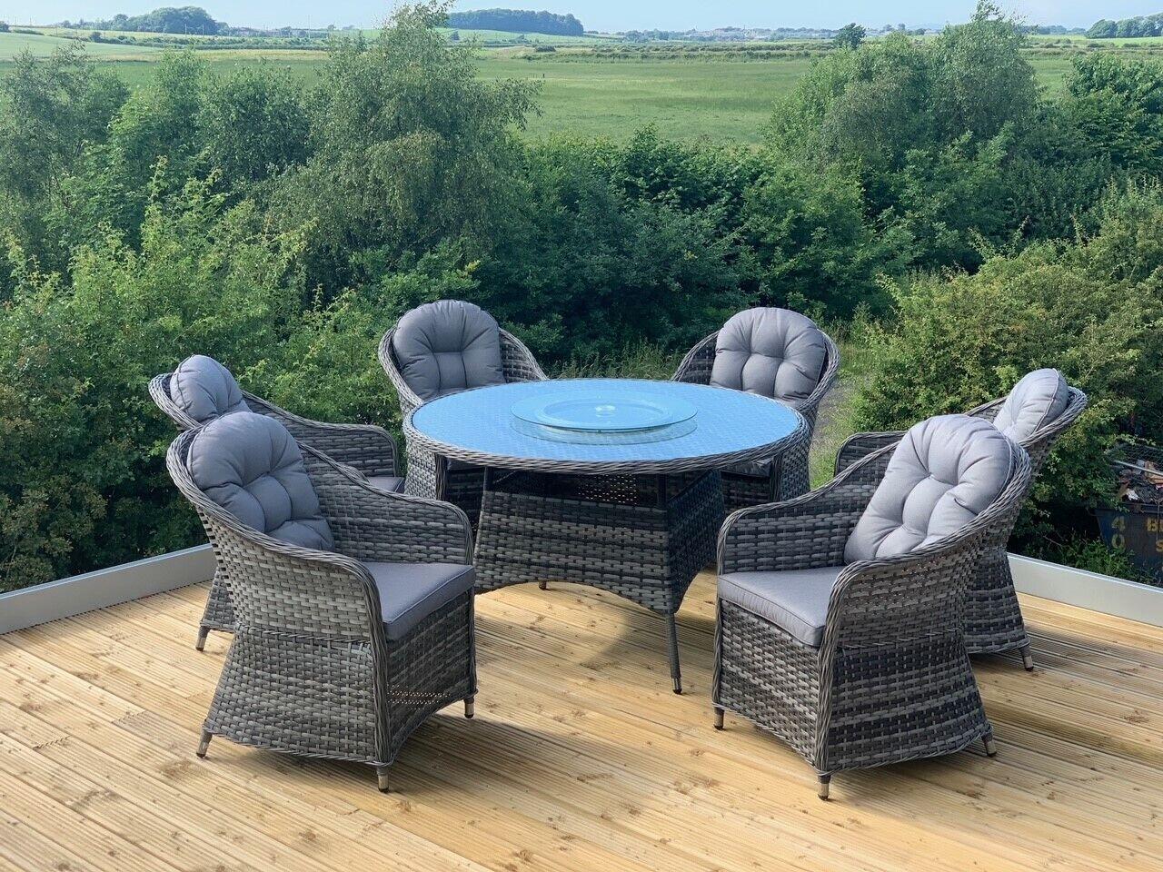 Garden Furniture - Florida Aluminium Rattan Garden Furniture 4/6 Seat, High Quality 5 Year Warranty