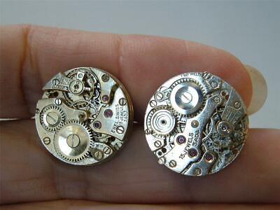 Vintage Pair Cufflinks Watch Parts Steampunk Gold Tone Swiss 15 Jewels