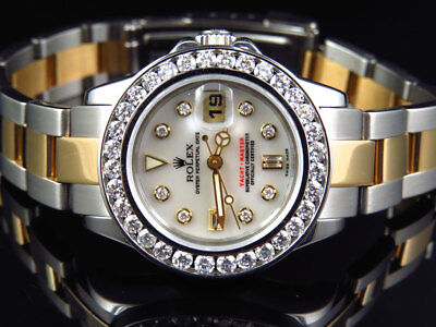 Ladies 2 Tone Rolex Yacht Master Band 29 MM 169623 Diamond Watch 18k/Steel Band