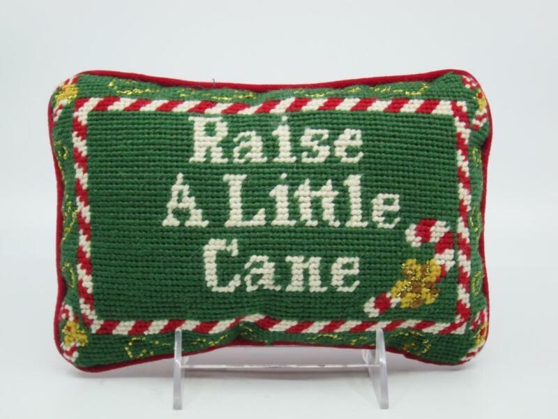 "RAISE A LITTLE CANE NEEDLEPOINT ACCENT PILLOW 8"" x 5.5"" Christmas Candy EUC"