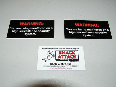 Soda Vending Machine 2 Decals Warning Being Monitored On Security System