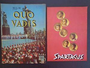 2 Vintage film brochures Spartacus w/Douglas/Kubrick/Trumbo & Quo Vadis? INV2373