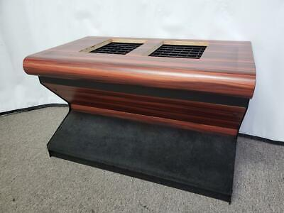 BULL NOSE SLOT MACHINE STAND - BASE WITH CARPETED FOOTREST & WOODGRAIN FINISH