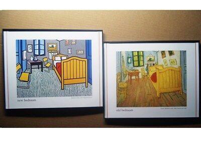 "Lot 2 Framed 10""x 8"" prints Roy LICHTENSTEIN & Vincent VAN GOGH Bedroom in Arles"