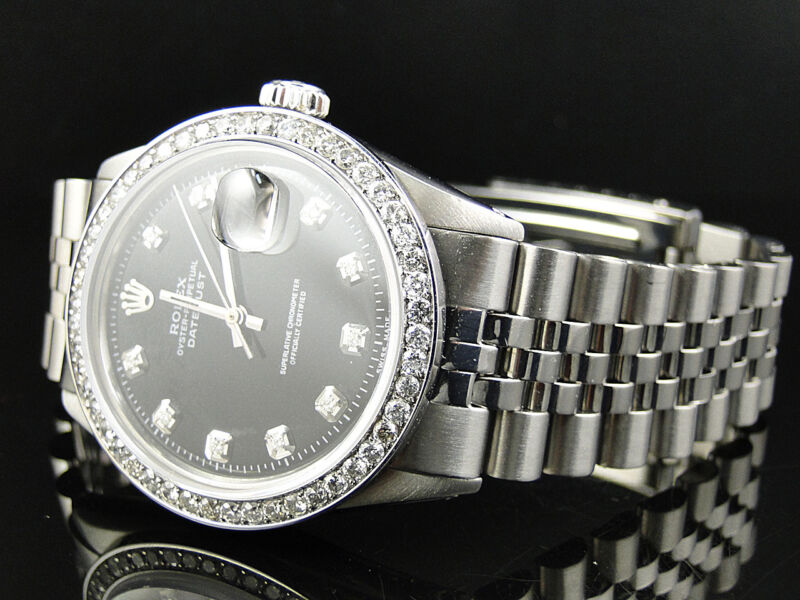 Mens Stainless Steel Rolex Datejust Jubilee Watch With 2.15ct Diamond Black Dial