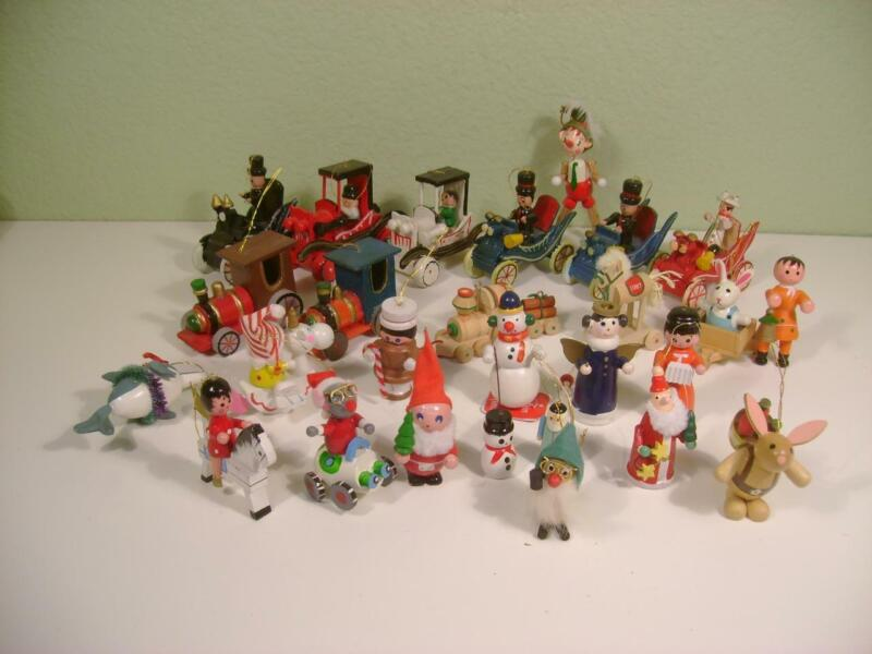 VTG Lot of 37 Wooden Christmas Holiday Ornaments Hand Painted Cars,Trains