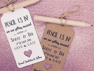 """Pencil Us In"" Save The Date / Evening Card Wedding Invitation with Envelope"