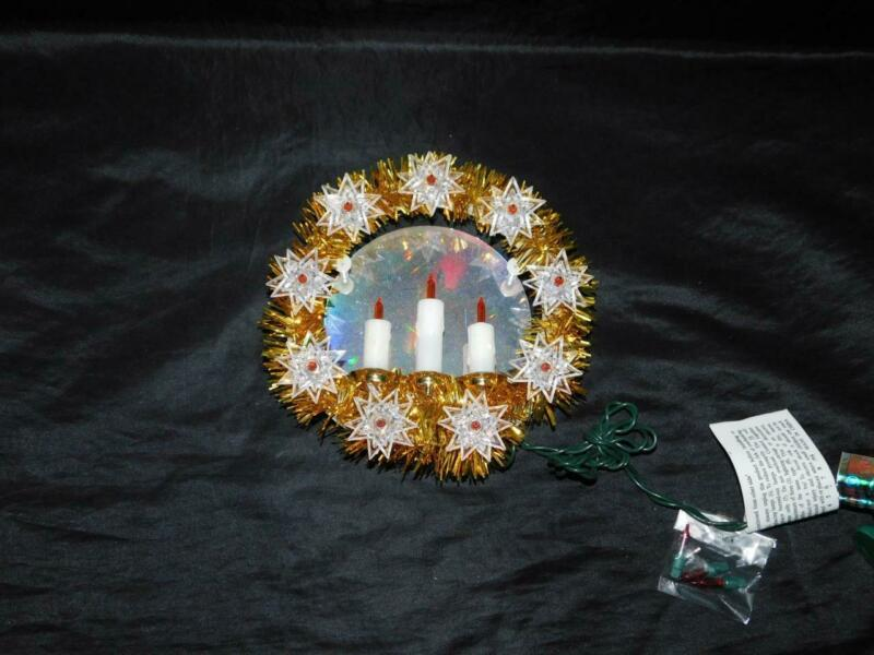 Vtg Christmas Tree Topper Gold Tinsel Wreath Center Mirror Candles Orange Lights