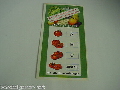 Wurfsendung um 1959 Handelsklassen Obst und Gemüse
