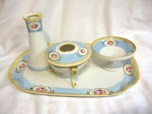 Antique-Noritake-Dresser-Vanity-Set-ca-1911-Pink-Blue-Gold-Bead-Marked