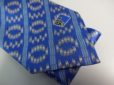 VERSACE COLLECTION ITALY MADE ROYAL & FRENCH BLUE WOVEN STRIPE SILK TIE NEW NWOT