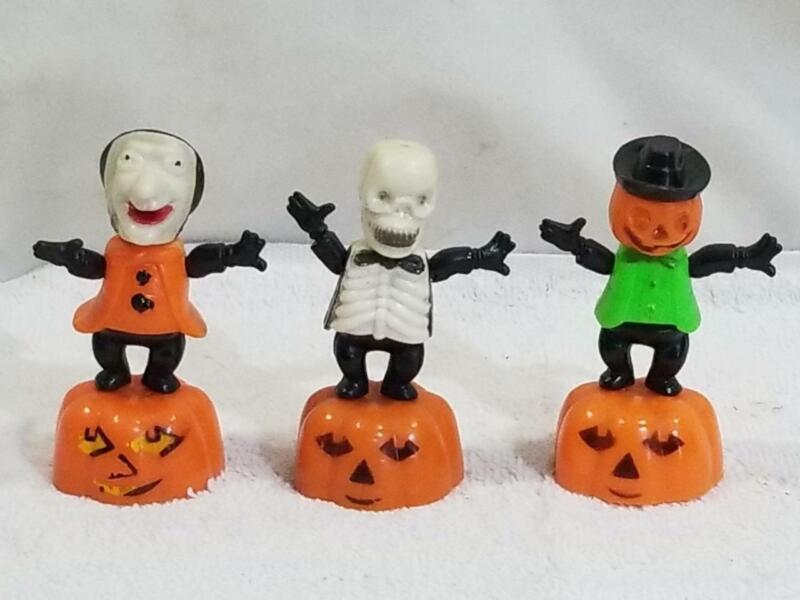 3 Vintage Fun World Halloween Push Puppets Witch Pumpkin Skeleton FREE USA SHIP