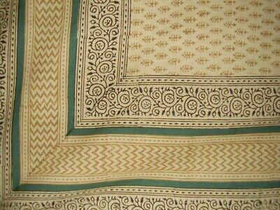 "Bagru Block Print Tapestry Cotton Spread 106"" x 70"" Twin Barley"