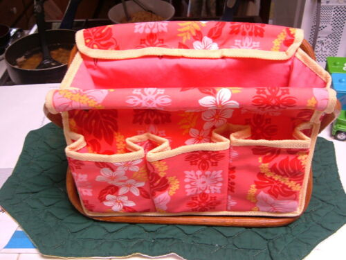 """HAWAII PINK FLORAL/LEI DESIGN 10"""" UTENSIL DESK-TOP SUPPLY PICNIC CADDY 5-POCKETS"""