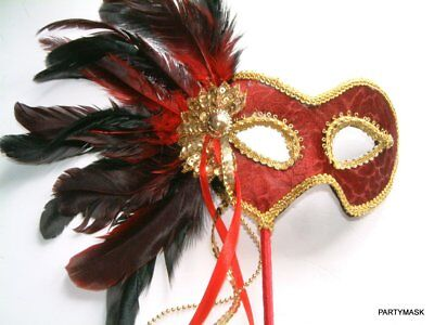 MASQUERADE HALLOWEEN CARNIVAL RED DELUXE FEATHER STICK VELVET MASK / GOLD BRAID (Masquerade Mask Stick)