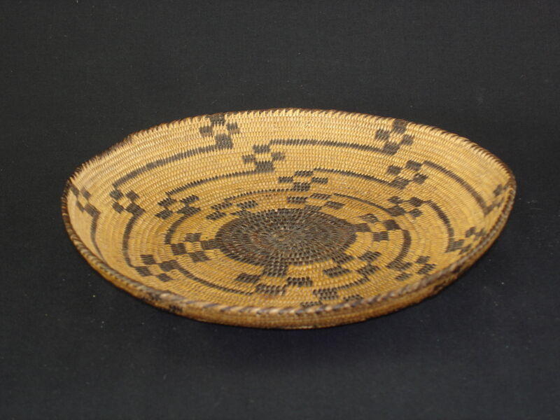 A Pima tray with geometric designs, Native American Indian basket, circa: 1920