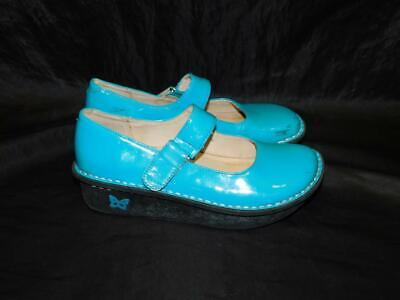Teal Patent Schuhe (Alegria Girls 3 Vinca Paloma Teal Blue Mary Jane Shoes Patent Leather With Strap)