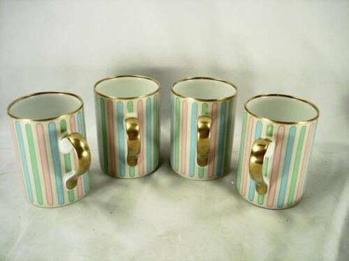 FITZ & FLOYD PASTEL COLONNADE SET OF 4 COFFEE / TEA MUGS