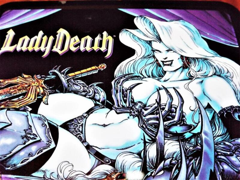 VERY SEXY DYNAMIC FORCES { LADY DEATH } METAL LUNCH BOX DOUBLE SIDED CHAOS COMIC