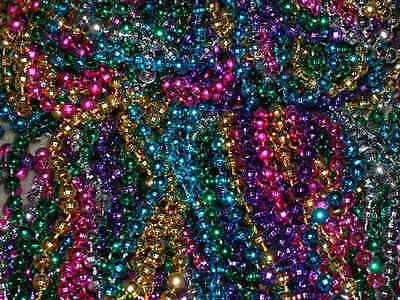12 DOZEN MULTI-COLOR MARDI GRAS BEADS/NECKLACES-PARTY FAVORS * FREE - Mardi Gras Party Favors