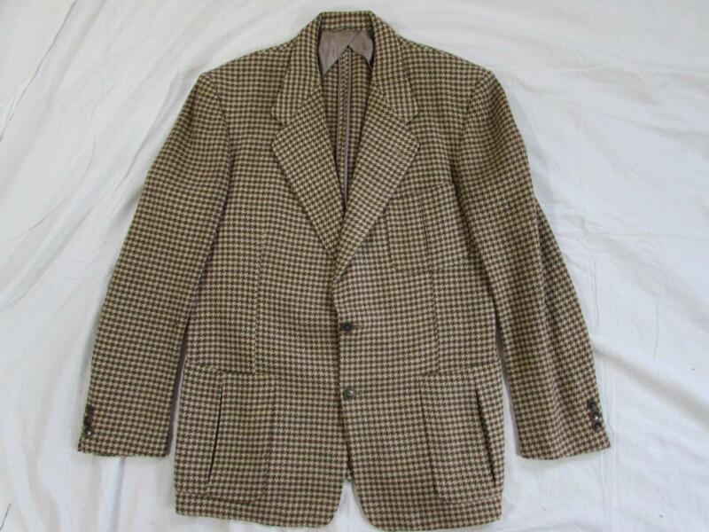 Vtg 50s Patch Pocket Houndstooth Wool Blazer Sport Coat Jacket Hollywood VLV