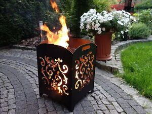 *Design Gr. L Blumen* Feuerkorb Motiv Stahl Feuersäule Edelrost Made in Germany