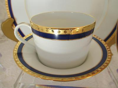 Tiffany & Co. Limoges France~Cup and Saucer~Blue Band Pattern~ Gold Trim w Dots