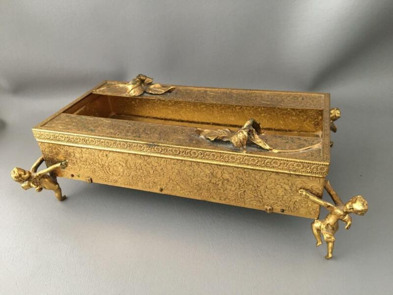 VTG GOLD GILT EMBOSSED METAL TISSUE HOLDER BOX w FLOWERS & CHERUBS FIGURINE