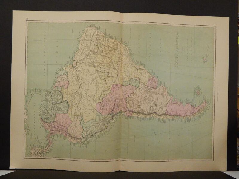 Antique Map, 1873, South America, Double Page, R4#07