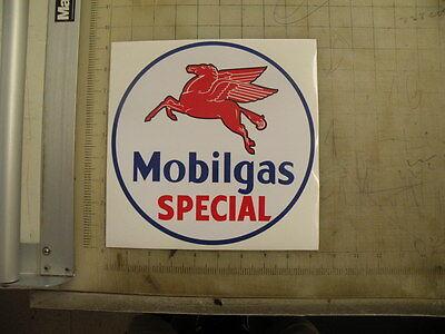 "Vintage Mobilgas Special gasoline sticker 9"" diameter"