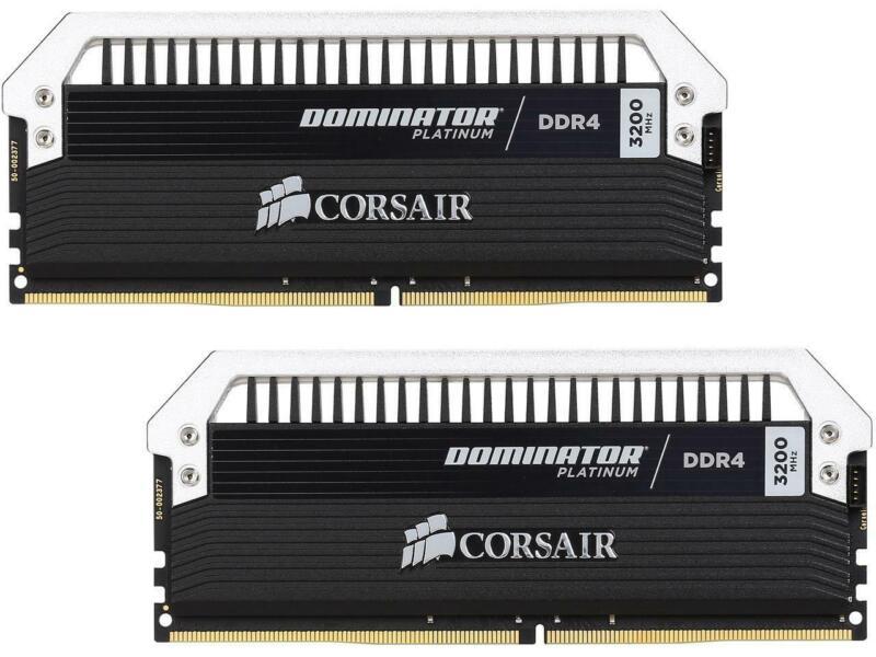 CORSAIR DOMINATOR PLATINUM 16GB (2PK 8GB) 3.2GHz DDR4 Desktop Memory with DHX cooling Black/gray CMD16GX4M2B3200C16