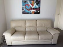 Comfy modern Cream Leather 3 seater sofa / lounge Randwick Eastern Suburbs Preview
