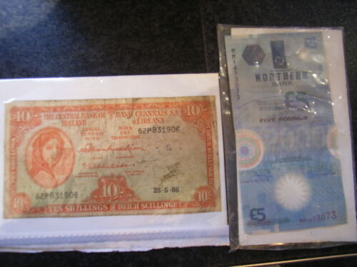 LADY LAVERY IRISH 10 SHILLING NOTE DATE1966 &.2/£5 NORTHERN BANK PLASTIC NOTES
